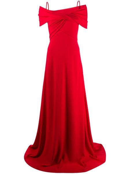 Шелковое красное вечернее платье с запахом Giambattista Valli