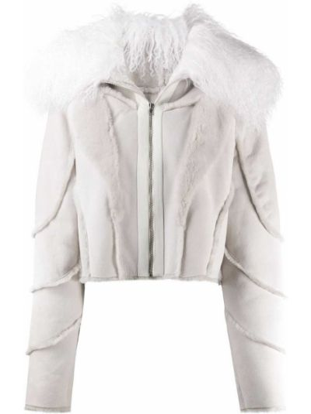 Серая кожаная короткая куртка на молнии Almaz