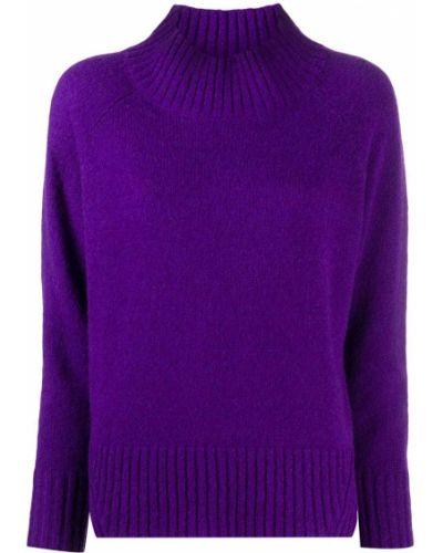 Шерстяной вязаный длинный свитер с высоким воротником Luisa Cerano