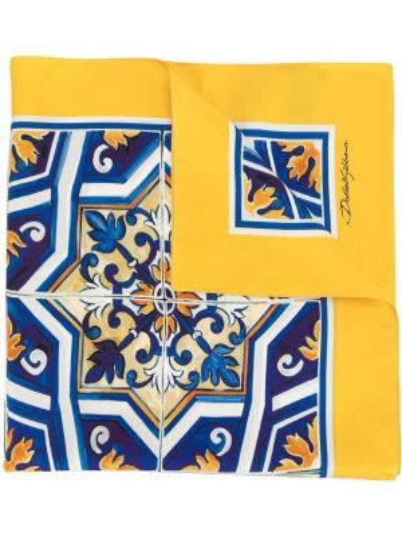 Prążkowany żółty szalik z jedwabiu Dolce And Gabbana