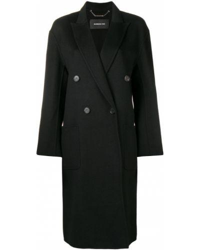 Шерстяное черное длинное пальто с воротником Barbara Bui
