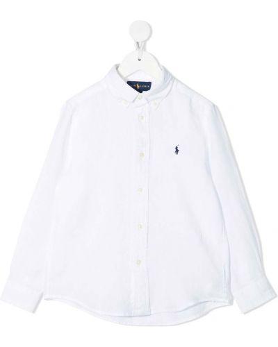 Белая рубашка с воротником с вышивкой Ralph Lauren Kids