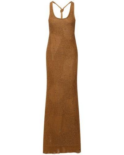 Льняное коричневое платье Mrz