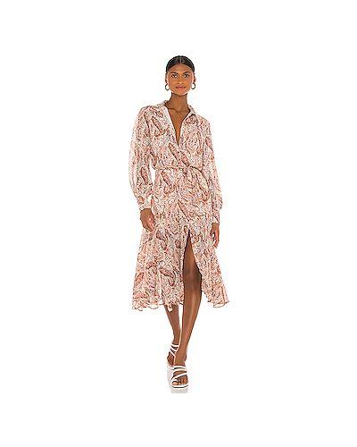 Бежевое платье на пуговицах из вискозы с подкладкой Minkpink