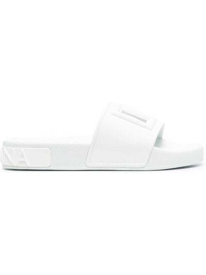 Открытые белые шлепанцы с открытым носком Dolce & Gabbana