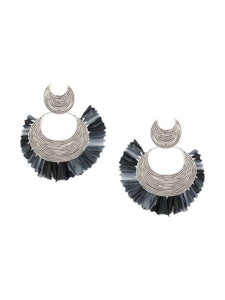 Плетеные серебряные серьги круглые с бабочкой Gas Bijoux