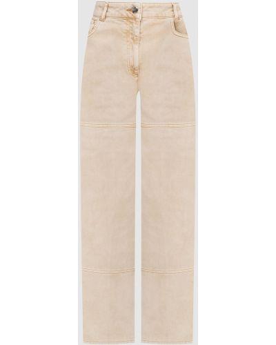 Бежевые джинсы с вышивкой Nina Ricci