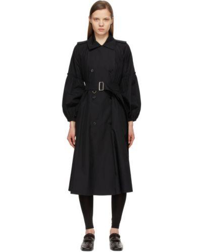 Черное длинное пальто двубортное с воротником Max Mara