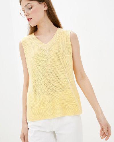 Желтая вязаная жилетка без рукавов Sewel