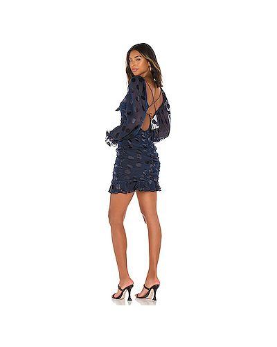 Синее шелковое платье мини на молнии эластичное For Love & Lemons