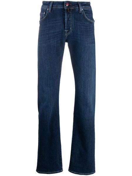 Klasyczny niebieski jeansy o prostym kroju z paskiem z łatami Jacob Cohen