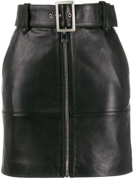 Черная кожаная юбка на молнии Pinko