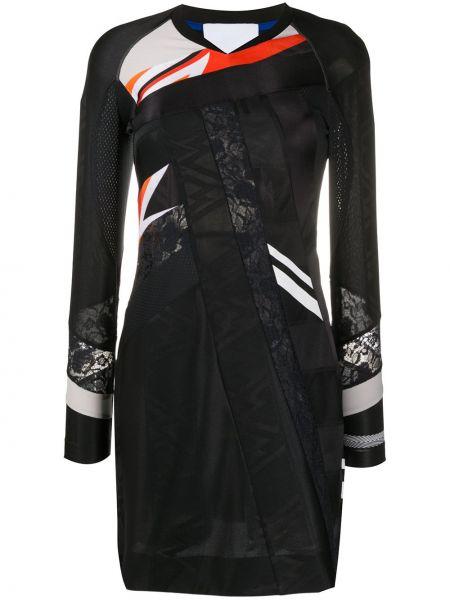 Облегающее кружевное черное платье макси Koché