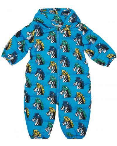 Синий ромпер с капюшоном с манжетами Stella Mccartney Kids