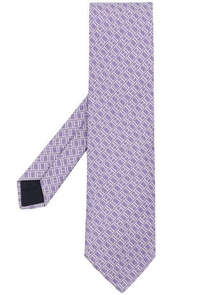 Krawat z jedwabiu - biały Hermes