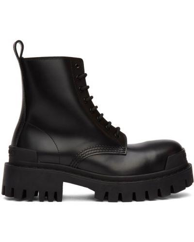 Черные ботинки на каблуке на шнуровке Balenciaga