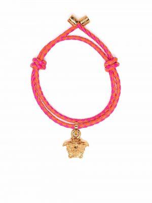 Кожаный браслет - оранжевый Versace