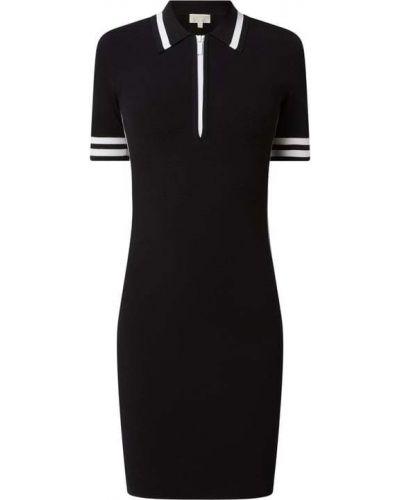 Czarna sukienka mini w paski z paskiem Michael Michael Kors