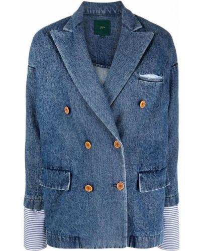 Синий удлиненный пиджак двубортный с карманами Jejia