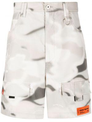 Хлопковые белые шорты карго с карманами на пуговицах Heron Preston