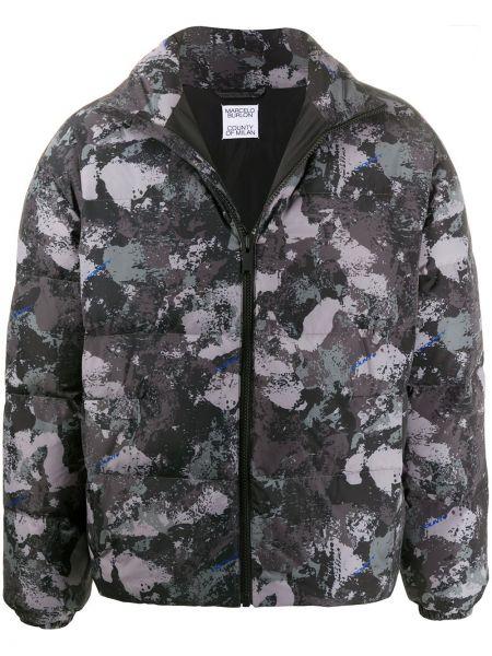 Czarny puchaty długa kurtka z długimi rękawami Marcelo Burlon County Of Milan