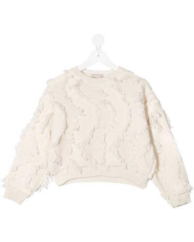 Белый шерстяной вязаный длинный свитер Mariuccia Milano Kids