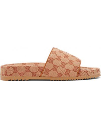 Otwarty beżowy skórzany skórzany sandały okrągły Gucci