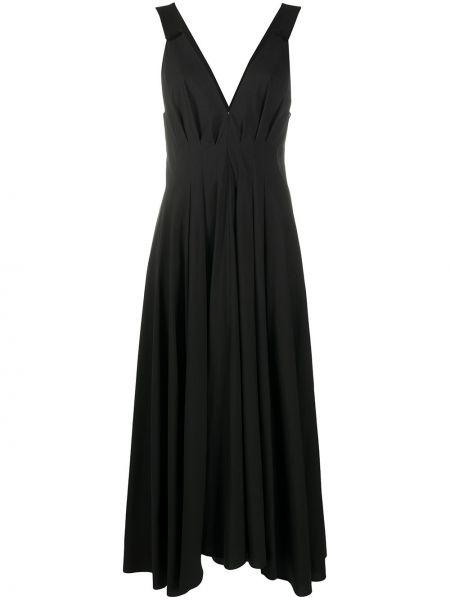 Черное платье макси без рукавов с вырезом Brunello Cucinelli