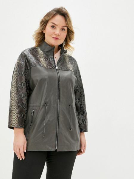 Кожаная коричневая кожаная куртка Le Monique