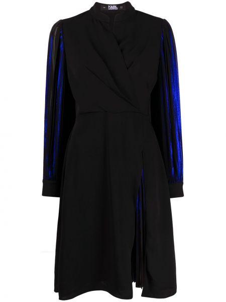 С рукавами черное платье макси с запахом Karl Lagerfeld
