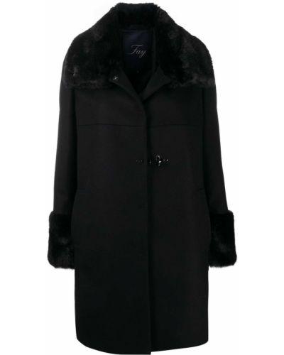 Шерстяное черное пальто с мехом с мехом на пуговицах Fay