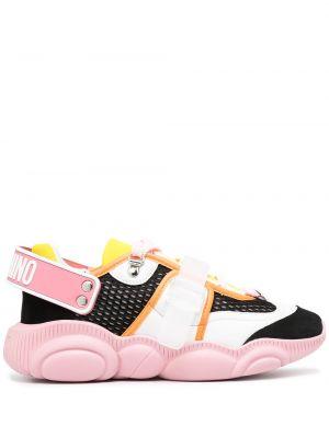 Koronkowa różowy skórzany sneakersy Moschino