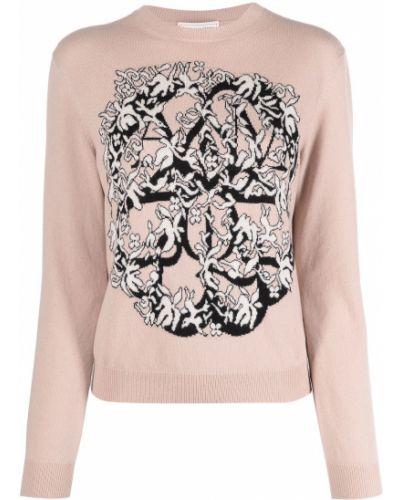 Różowy wełniany sweter z okrągłym dekoltem z długimi rękawami Alexander Mcqueen
