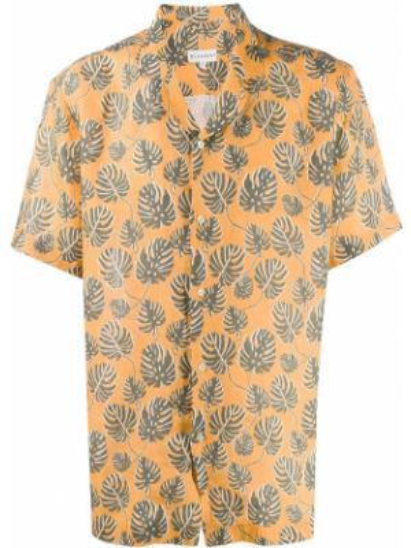 Żółta koszula krótki rękaw z printem Bluemint