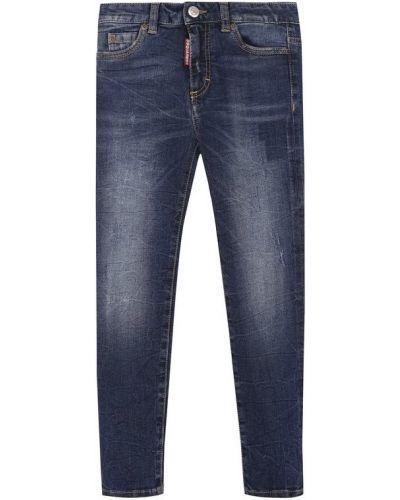 Прямые джинсы с эффектом потертости с принтом Dsquared2