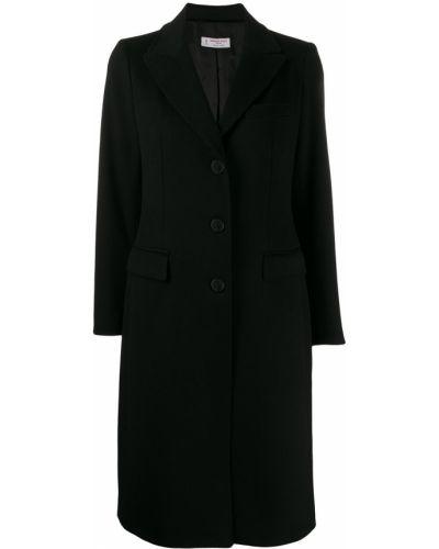 Однобортное черное пальто классическое с капюшоном Alberto Biani
