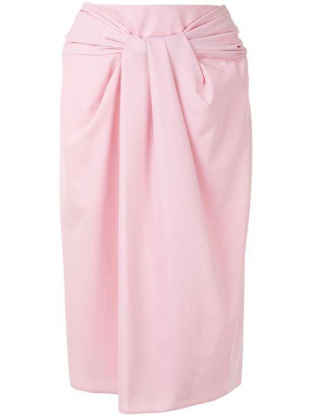 Розовая с завышенной талией юбка миди с оборками с драпировкой Delpozo