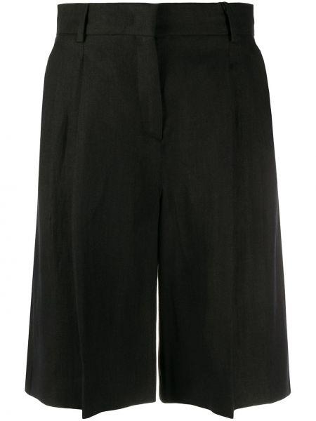 Льняные черные шорты с карманами Max Mara