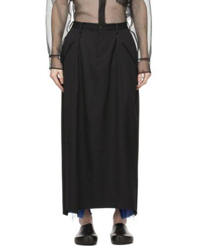 Czarna spódnica wełniana z paskiem Sulvam
