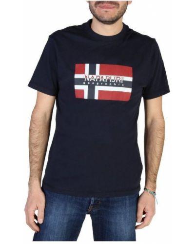 Bawełna z rękawami t-shirt okrągły Napapijri