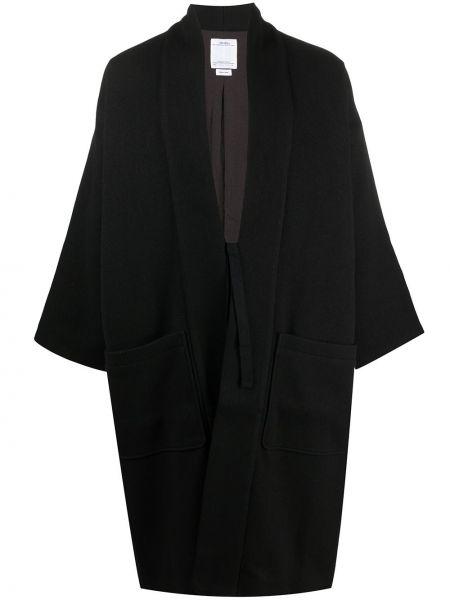Прямое шерстяное черное длинное пальто Visvim