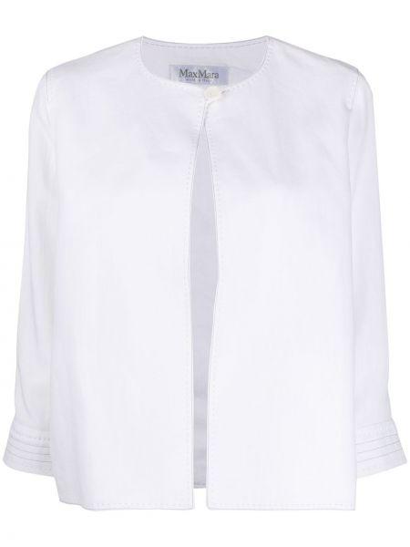 Льняная белая куртка круглая Max Mara