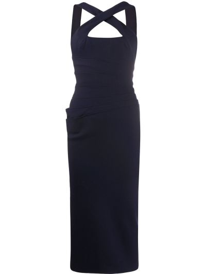 Шерстяное синее облегающее платье со складками со шлицей Versace Pre-owned