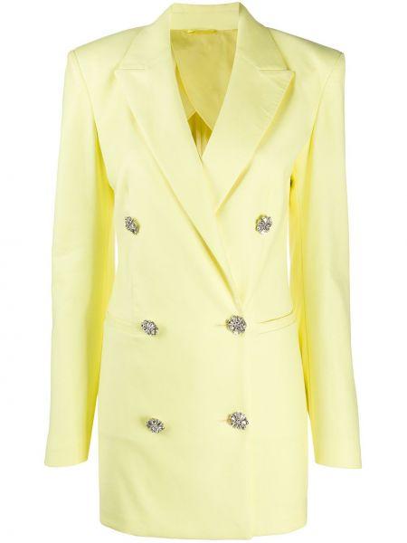 Klasyczna żółta sukienka mini z długimi rękawami Attico