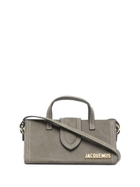 Золотистая серая кожаная сумка-тоут Jacquemus