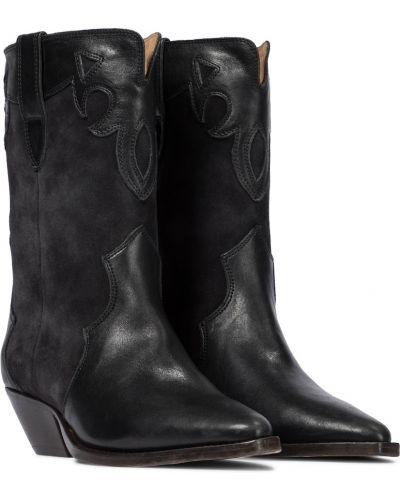 Skórzany czarny kowboj buty Isabel Marant