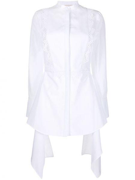 Приталенная белая рубашка с воротником-стойка Alexander Mcqueen
