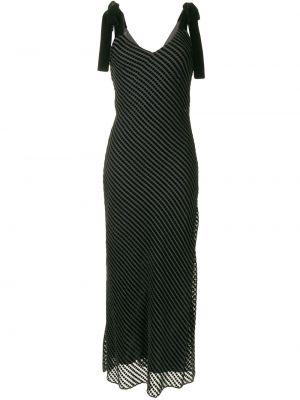 Czarna sukienka długa w paski z jedwabiu Dannijo
