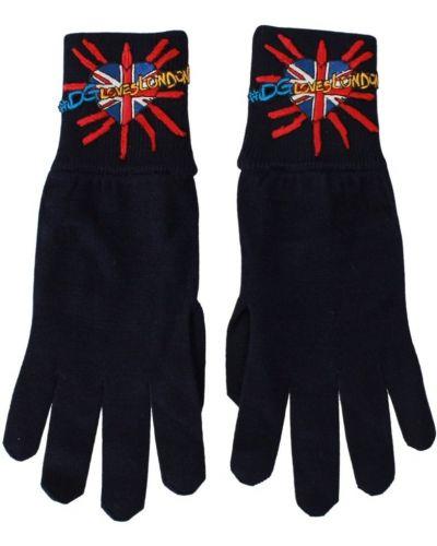 Niebieskie wysoki rękawiczki wełniane z haftem Dolce And Gabbana