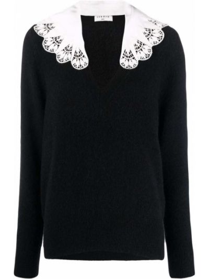Черный свитер из альпаки Sandro Paris